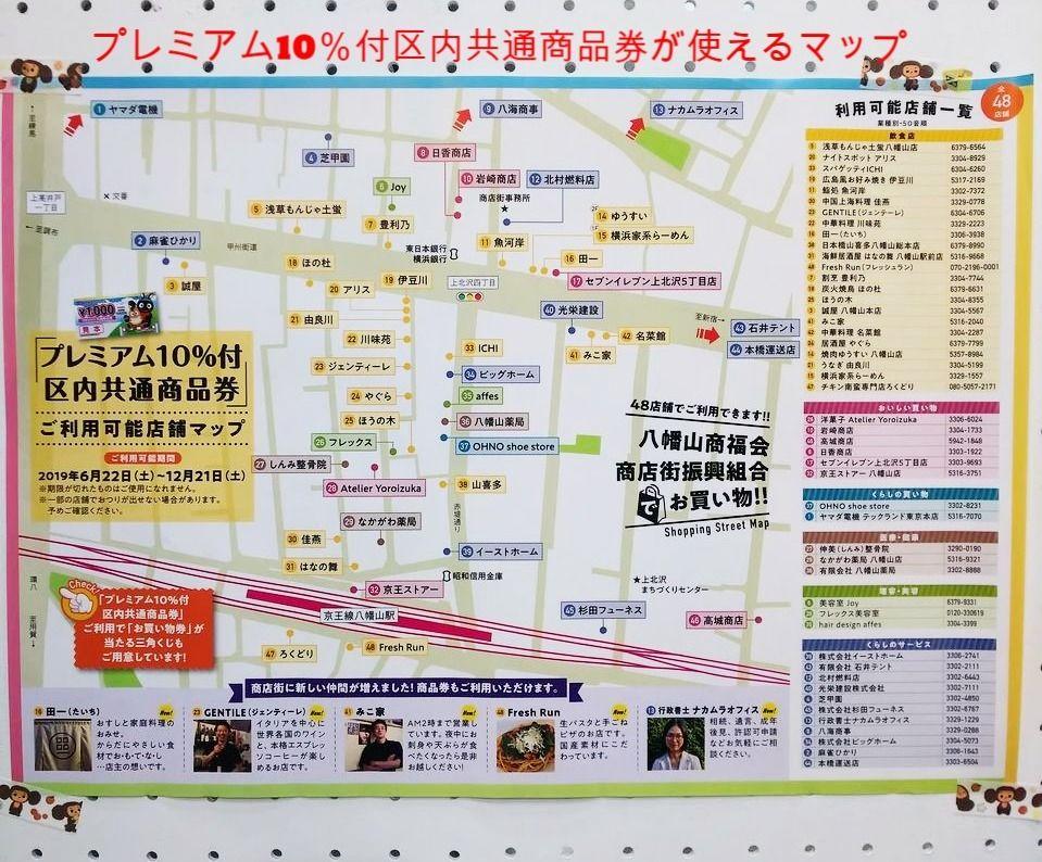 八幡山 商福会商店街の中で商品券が使えるマップです。ここで三角くじも引けます