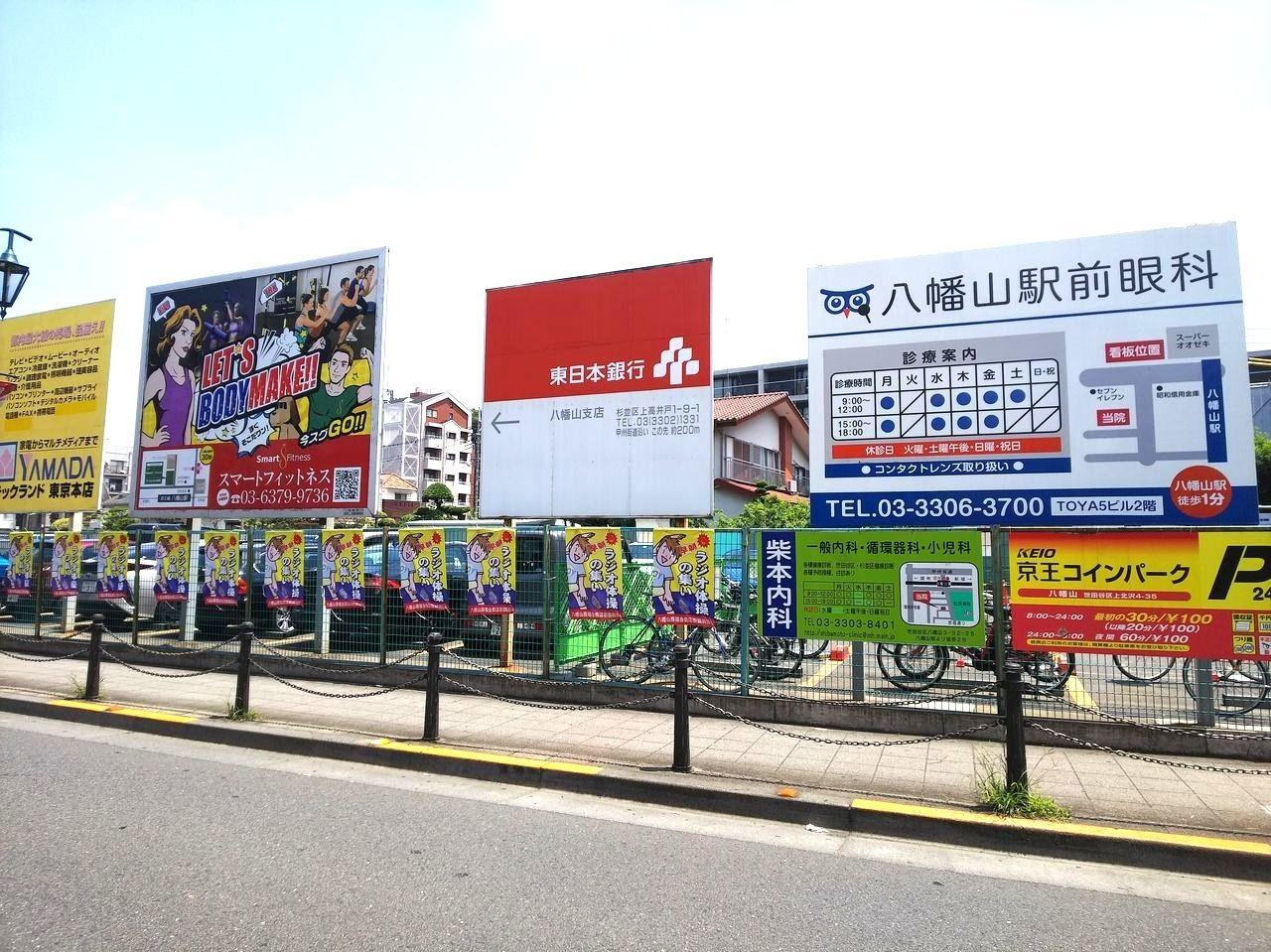 八幡山「ラジオ体操の集い」の開催場所の京王コインパークです。スーパーオオゼキの隣になります。